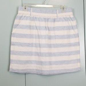 LOFT white and light blue stripes skirt size M -C9
